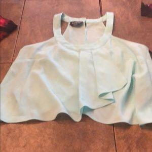 Bebe XS aqua blue top with open back